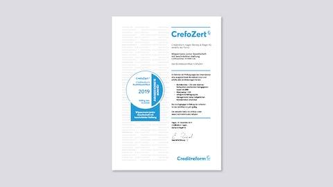 [Translate to English:] Bonitätszertifikat CrefoZert 2019