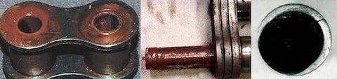 Ungewöhnlich starke Verlängerung der Kette, Reibrostbildung (rote Oxidation) in den Gelenken