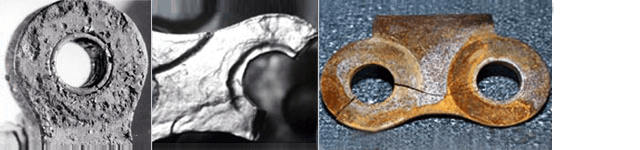 Rust development, material loss on components, pitting corrosion, unusual plate cracks