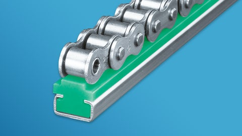 Guide rails for roller chains